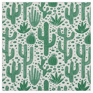 Tela Modelo del cactus - Forest Green y blanco