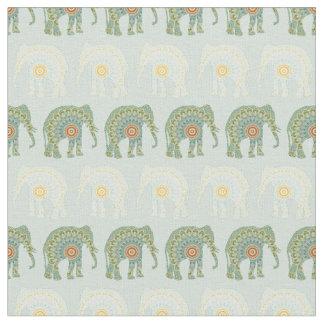 Tela Modelo del elefante y de la mandala en verde claro