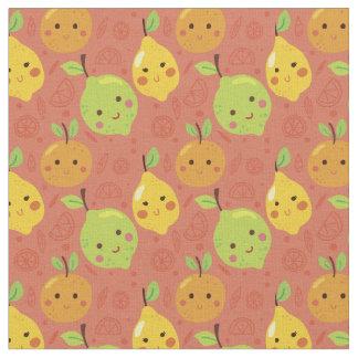 Tela Naranja, limón y cal preciosos lindos del dibujo