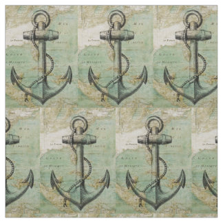 Tela náutica antigua del mapa y del ancla por la