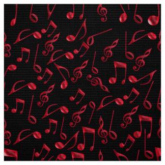 Tela Notas rojas festivas de la música sobre negro o su