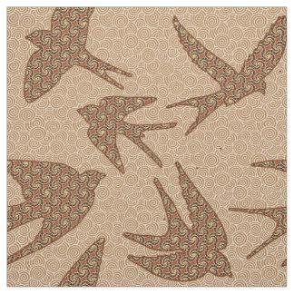 Tela Pájaros japoneses en vuelo, Brown y beige