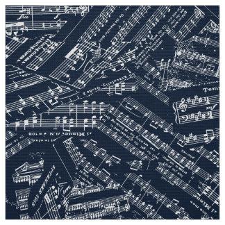 Tela Pedazos de música blancos/POMV azul