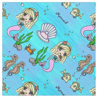 Tela personalizable de la sirena y de los pescados