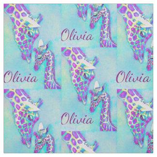 Tela púrpura y jirafas de la aguamarina personalizadas