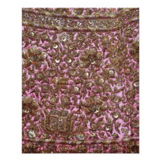 Tela rosada bordada Nueva Deli la India Tarjetones