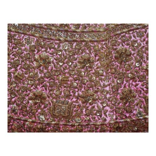 Tela rosada bordada Nueva Deli la India Tarjeton