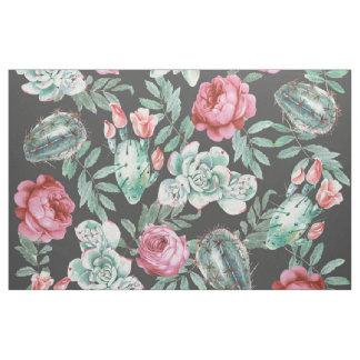 Tela Rosas rosados y modelo suculento del cactus en
