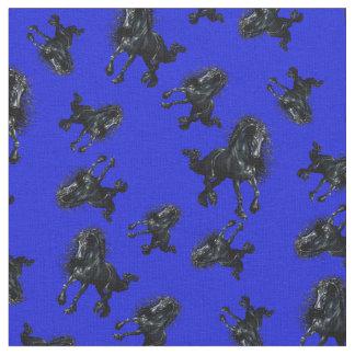 Tela Semental frisio/caballo negro de la belleza, azul