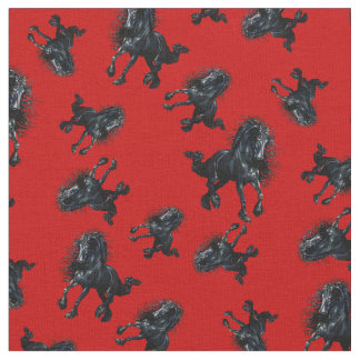 Tela Semental frisio/caballo negro de la belleza, rojo