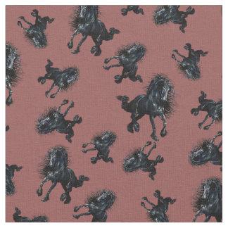 Tela Semental frisio, caballo negro de la belleza, rojo