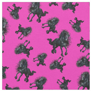 Tela Semental frisio/caballo negro de la belleza, rosa
