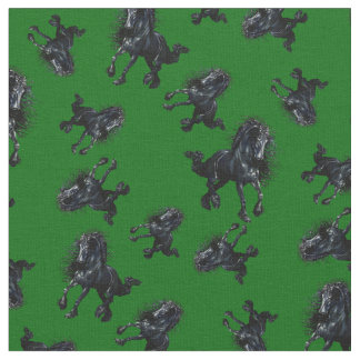 Tela Semental frisio/caballo negro de la belleza, verde