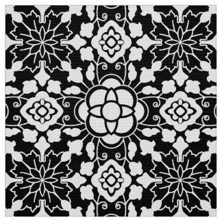 Tela Teja marroquí floral, blanco y negro