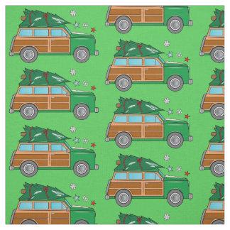 Tela Woodie con el árbol de navidad listo para ser