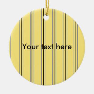 Telas a rayas amarillas y azules modernas ornaments para arbol de navidad