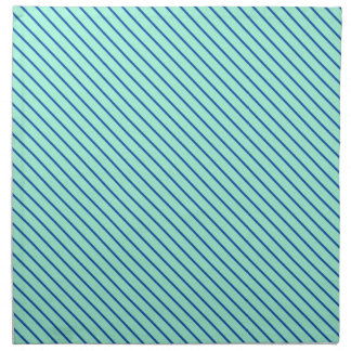 Telas a rayas diagonales - aguamarina y marina de servilleta imprimida