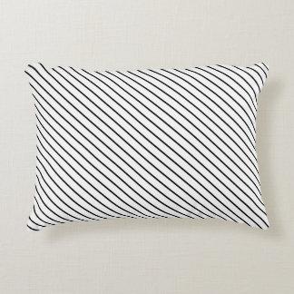 Telas a rayas diagonales - blanco y negro cojín