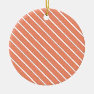 Telas a rayas diagonales - naranja coralino y adorno redondo de cerámica