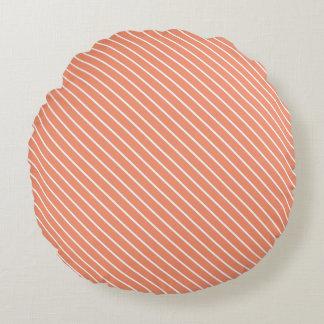 Telas a rayas diagonales - naranja coralino y cojín redondo