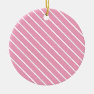 Telas a rayas diagonales - rosa y blanco de la adorno redondo de cerámica