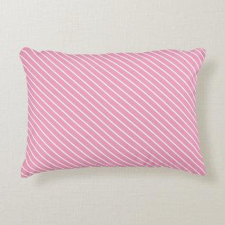 Telas a rayas diagonales - rosa y blanco de la cojín