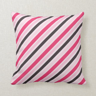 Telas a rayas diagonales rosadas femeninas cojín
