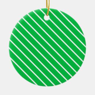 Telas a rayas diagonales - verde esmeralda y adorno redondo de cerámica