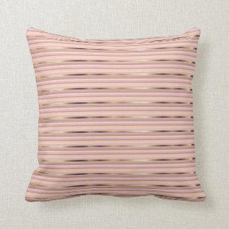 Telas a rayas metálicas color de rosa y del oro cojín decorativo
