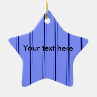 Telas a rayas púrpuras y azules modernas adorno de cerámica en forma de estrella