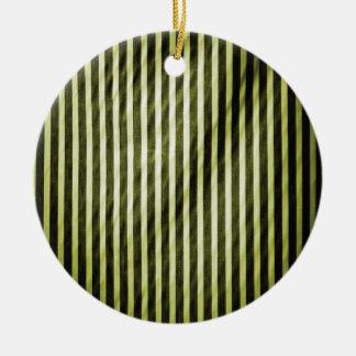 Telas a rayas verticales flacas amarillas y negras ornamento para arbol de navidad