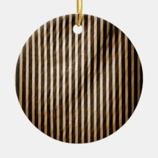 Telas a rayas verticales flacas anaranjadas y negr ornamento para arbol de navidad