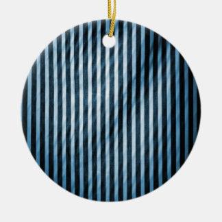 Telas a rayas verticales flacas azules y negras adorno redondo de cerámica