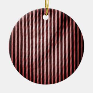 Telas a rayas verticales flacas rojas y negras adorno redondo de cerámica