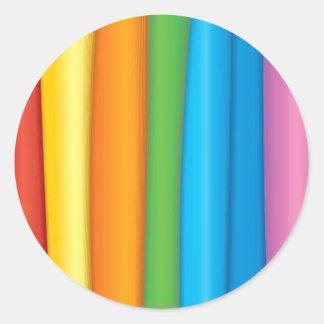 Telas del arco iris pegatina redonda