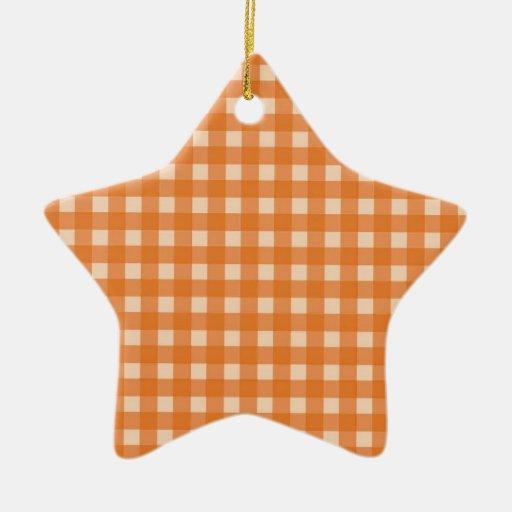 telas escocesas anaranjadas del país del color ornamentos de navidad