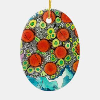 Teléfono con sabor a fruta adorno ovalado de cerámica