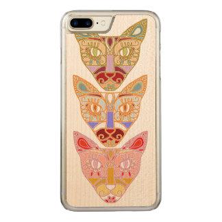 Teléfono de madera del gato funda para iPhone 8 plus/7 plus de carved
