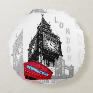 Teléfono del rojo de Londres Big Ben Cojín Redondo