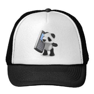 teléfono móvil de la panda 3d gorros bordados