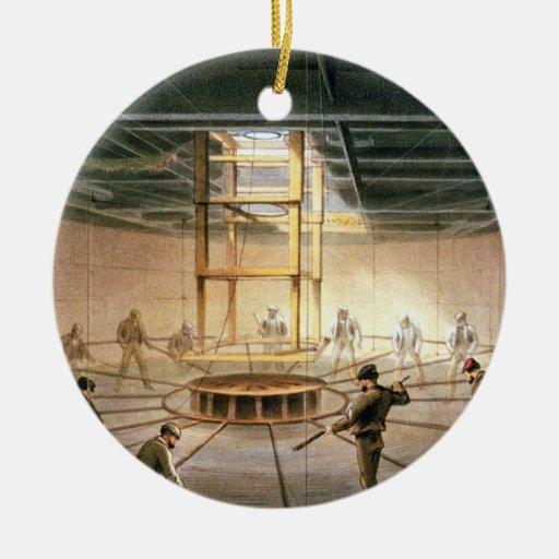 Telegrafíe el paso de uno de los tanques a bordo ornaments para arbol de navidad