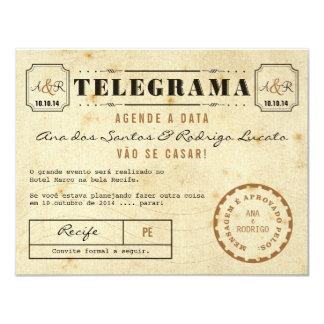 Telegrama do Vintage Agende a Data Invitación 10,8 X 13,9 Cm