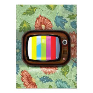 Televisión vieja de la CRT del vintage Invitación 11,4 X 15,8 Cm