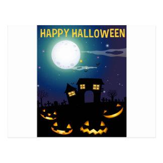 Tema de Halloween con la casa encantada y las Postal
