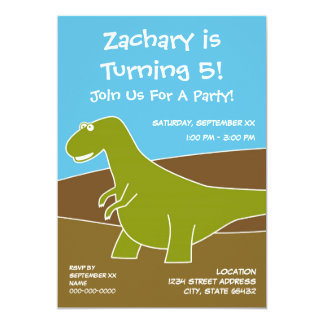 Tema de la fiesta de cumpleaños del dinosaurio invitación 12,7 x 17,8 cm