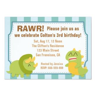 Tema de la fiesta de cumpleaños - dinosaurios invitación 11,4 x 15,8 cm