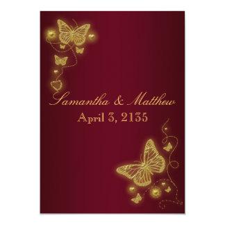 Tema de la mariposa del boda del oro de Borgoña Invitación 12,7 X 17,8 Cm