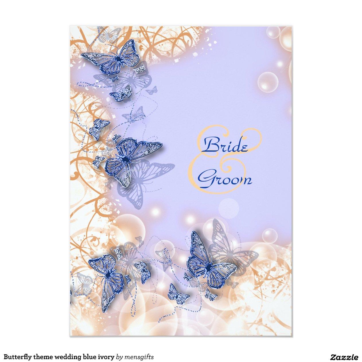 Tema de la mariposa que casa la marfil azul invitaci n for Diseno de casa de 7 x 17