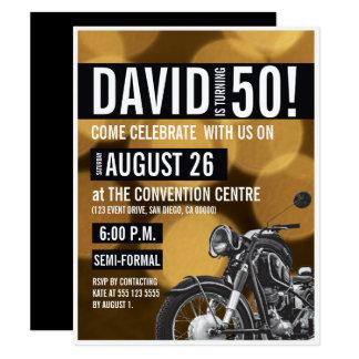 Tema de la motocicleta, 50.o cumpleaños, oro y invitación 10,8 x 13,9 cm
