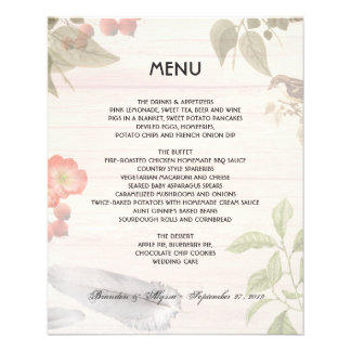 Tema de la naturaleza del menú del boda de Boho Tarjetón